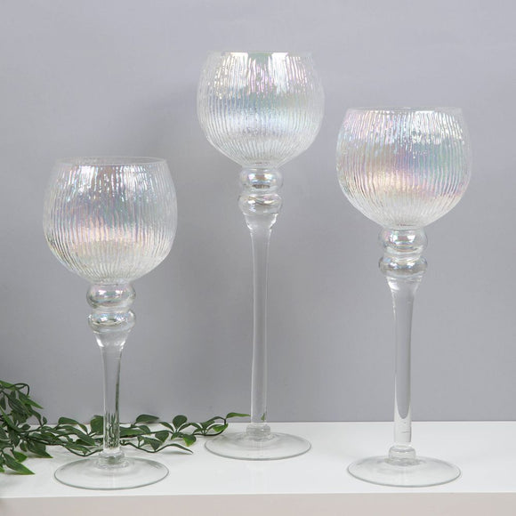 Set of 3 Pearlized Glass Goblet Style Candle Holders