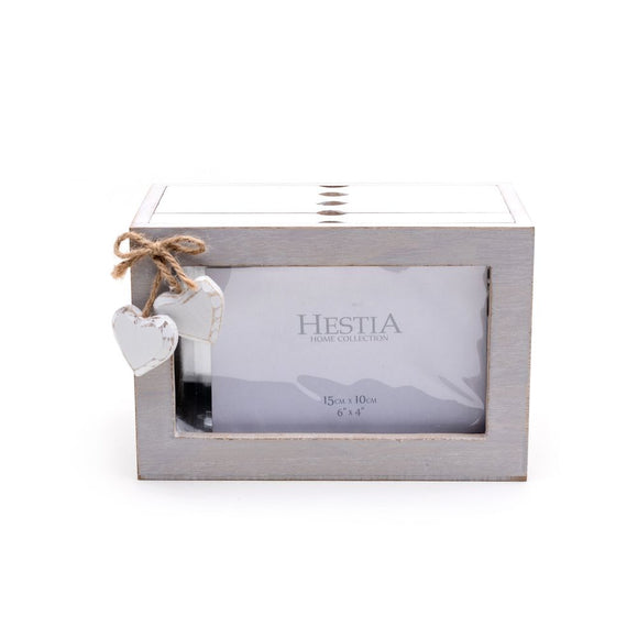 Grey & White Rustic Heart 96 Print Wooden Photo Box