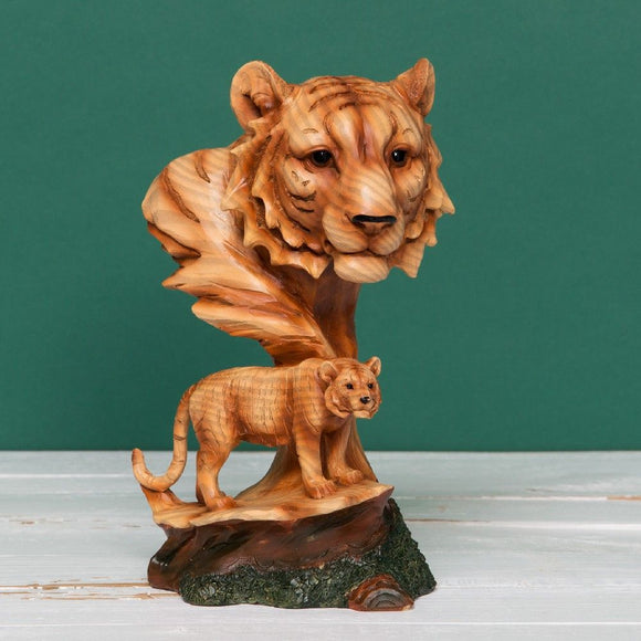 Naturecraft Wood Effect Resin Figurine - Lion & Cub
