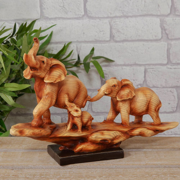 Naturecraft Wood Effect Resin Figurine - Elephant Family