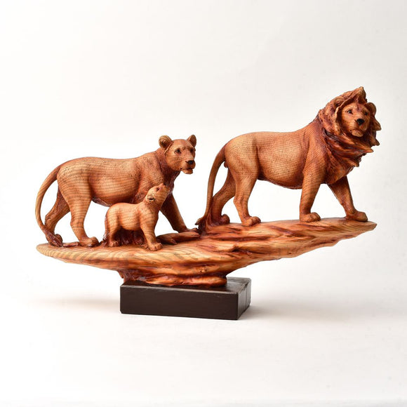 Naturecraft Wood Effect Figurine - Family of Lions