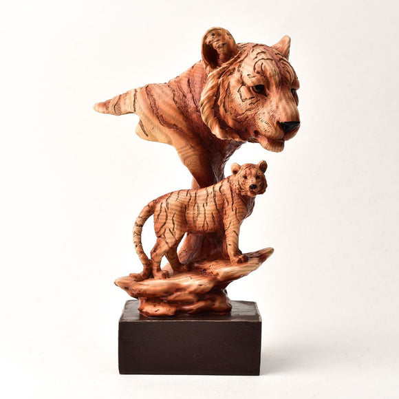 Naturecraft Wood Effect Figurine - Tigers