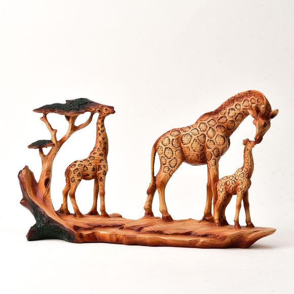 Naturecraft Wood Effect Figurine - Giraffe Family