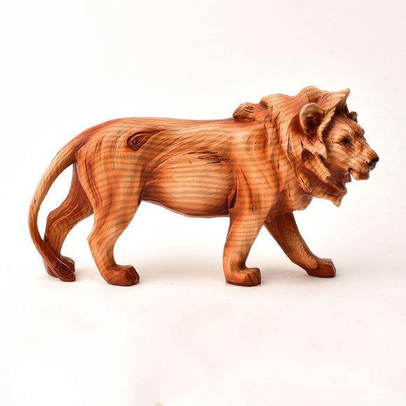 Naturecraft Wood Effect Figurine - Prowling Lion