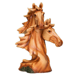 Naturcraft Wood Effect Resin Figurine - Two Horse Heads