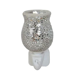Silver crackle tulip-plug in mosaic wax warmer