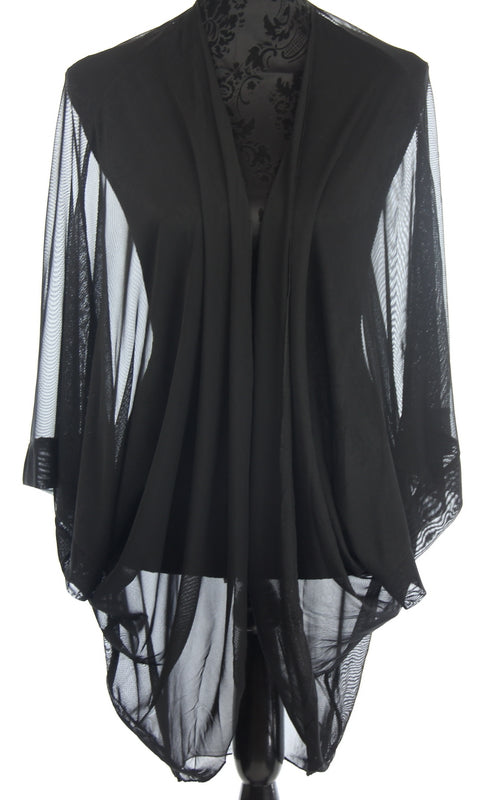 Plain Sheer Shrug Black