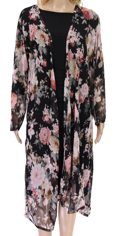 Floral on Navy Long Cape