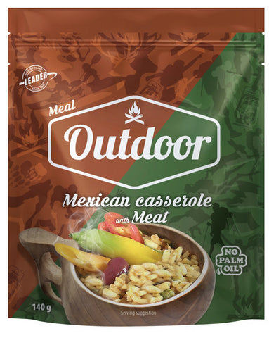 Outdoor Mexican casserole with meat