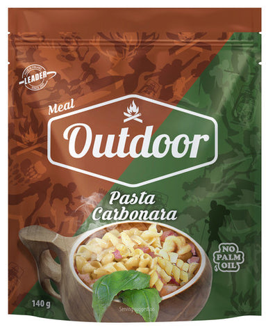 Outdoor Pasta Carbonara with meat