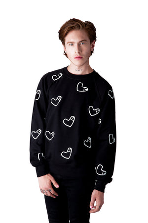 All Over Cockheart Jumper with Multiple Heart Shaped Like Penis Logos All Over Cockheart Jumper with Multiple Heart Shaped Like Penis Logos Black