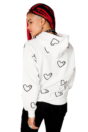 Cockheart Hoodie with multiple Heart Shaped Like Penis Logos