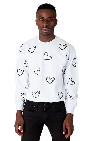 All Over Cockheart Jumper with Multiple Heart Shaped Like Penis Logos White