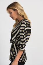 Load image into Gallery viewer, Joseph Ribkoff Black/White/Gold Top Style 201332