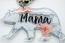 Load image into Gallery viewer, Mama Bear Keychain - Rustic Wood Pattern with Blush Blossoms