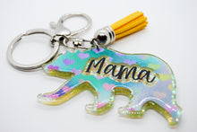 Load image into Gallery viewer, Mama Bear Keychain - Multicoloured Hearts