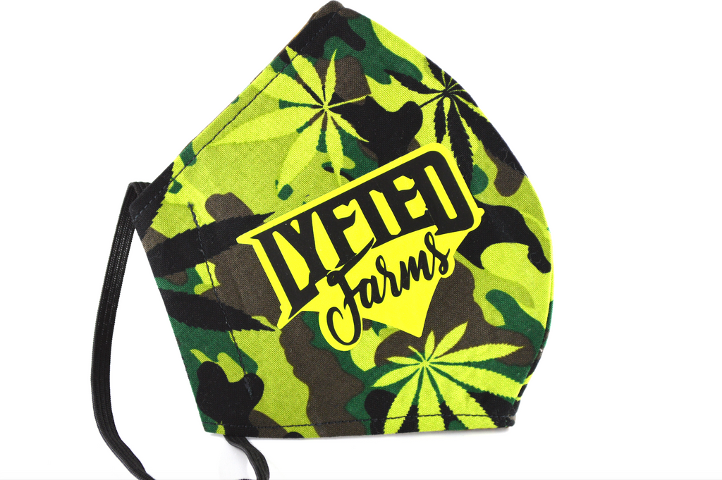 LYFTED - CAMO CANNABIS FACE MASK - LIME