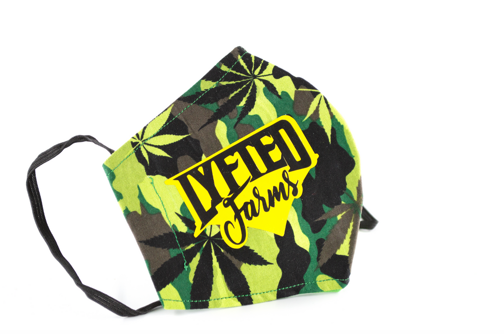 LYFTED - CAMO CANNABIS FACE MASK - MUSTARD