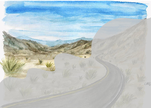 Desert Road Watercolor Print