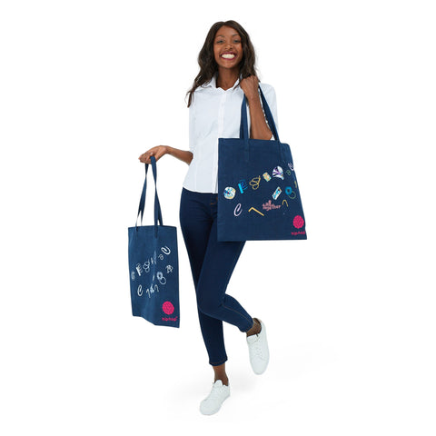 Denim Embroidered Tote Bags - Hip Hop Fashion