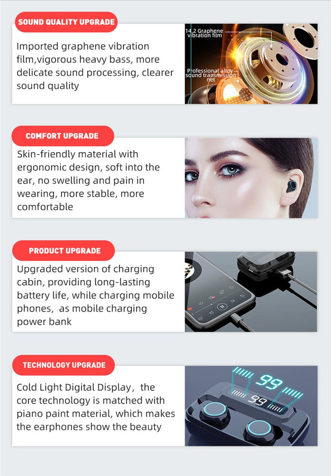 Wireless Bluetooth Earphones LED Display With 3300mAh Power Bank