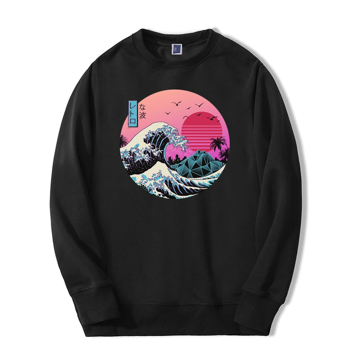 Vintage Men Sweatshirt Japanese Style