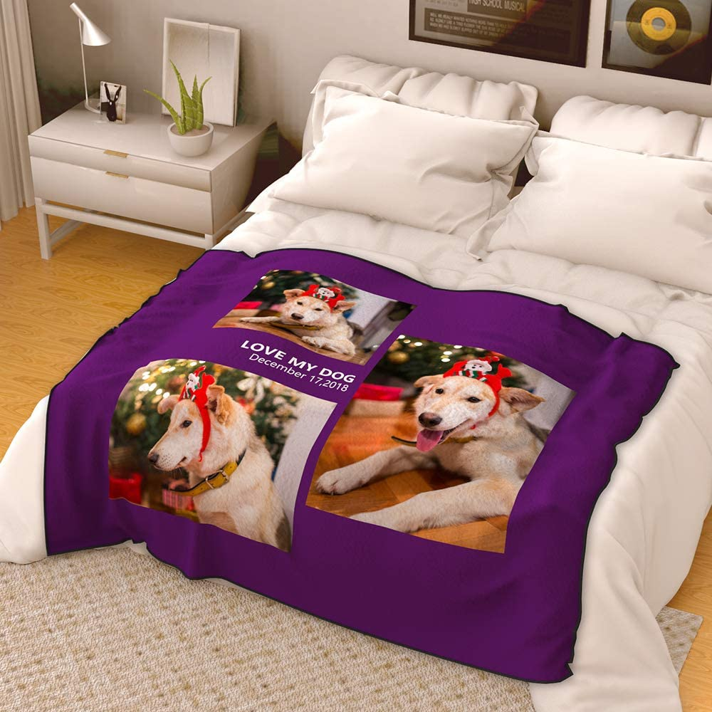 Personalised Photo Fleece Throw Blanket Picture Custom Gift for Adult Baby Pet