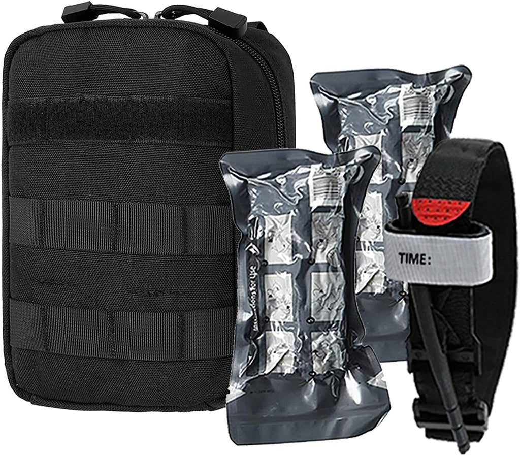 EMERGENCY SURVIVAL TRAUMA MEDICAL KIT W MOLLE POUCH TOURNIQUET FIRST AID BAG US