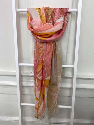 Envy Marbled Mix Print Scarf - Coral