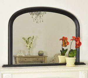 Large Matt Black Over Mantle Big Overmantle Wall Mirror 4Ft X 2Ft7 120cm X 79cm