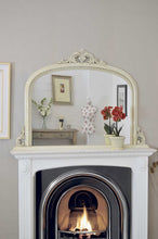 Load image into Gallery viewer, Large Ivory Crackle Antique style Overmantle Arched Wood Mirror 127cm X 91cm