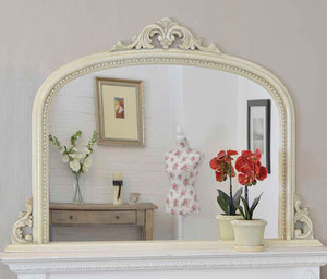 Large Ivory Crackle Antique style Overmantle Arched Wood Mirror 127cm X 91cm