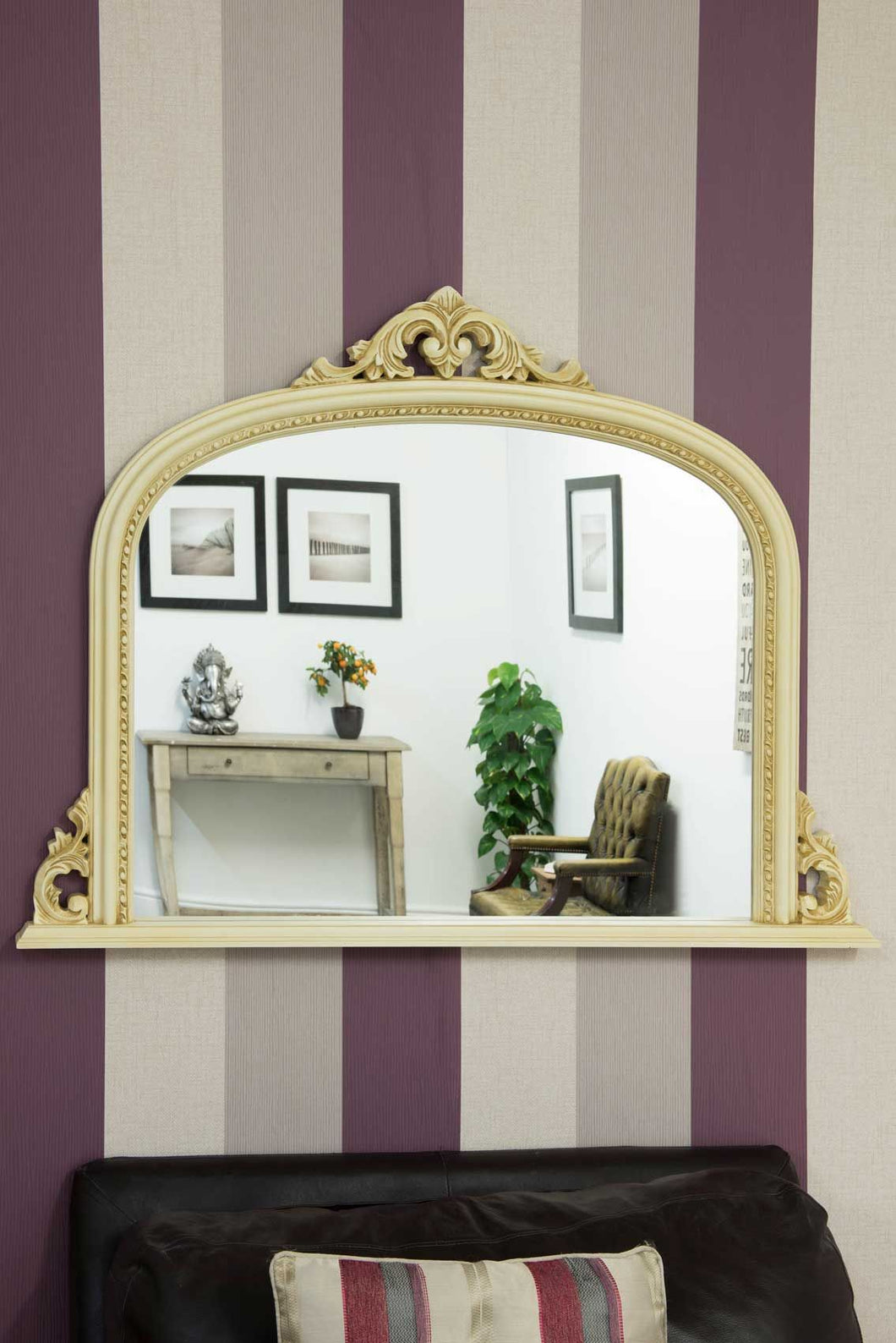 Large Ornate Shabby Chic Ivory/Cream Overmantle Mirror 4Ft2 X 3Ft 127cm X 91cm