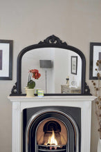 Load image into Gallery viewer, Large Antique Style Arched Black Overmantle Wall Mirror Wood 4Ft2 X 3Ft 127x91cm