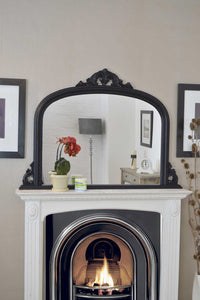 Large Antique Style Arched Black Overmantle Wall Mirror Wood 4Ft2 X 3Ft 127x91cm