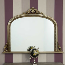 Load image into Gallery viewer, Large Champagne Silver Antique Over Mantle Wall Mirror 4Ft2 X 3Ft 127cm X 91cm