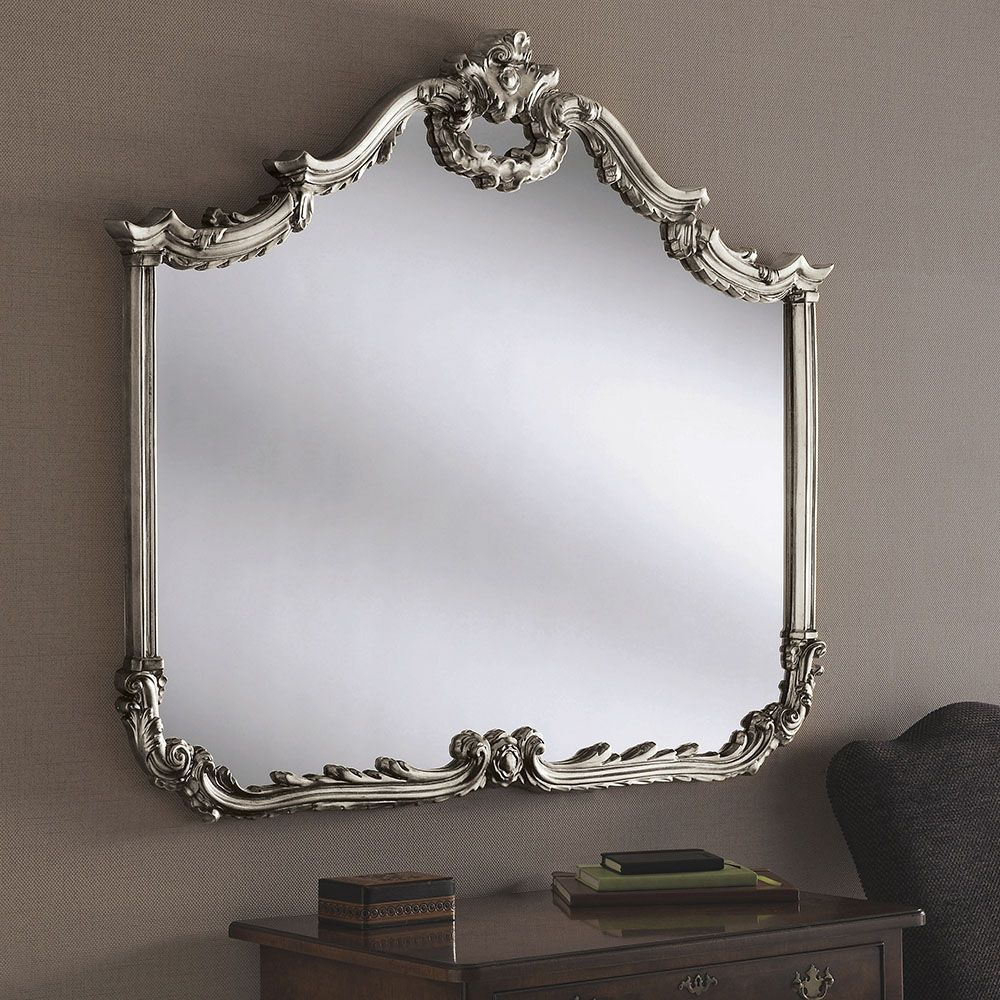 Large Champagne Silver Antique Overmantle Wall Mirror 122cm x 104cm (4ft x 3ft 5in)