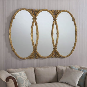 Large Champagne Silver Antique Overmantle Wall Mirror 160cm x 109cm (5ft 3in x 3ft 7in)