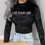 """Live Your Life"" Velvet Turtleneck"