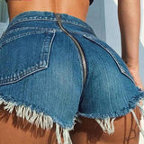 Back Zipper Distressed Denim Shorts