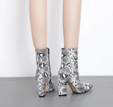 Vegan Leather Python Ankle Boot