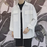 Large Pocket Cotton Button-Up Jacket