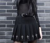 Embroidered Pleated Cross Skirt
