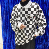 Checkerboard Long Sleeve Polo
