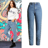 Mid Waisted Slim Straight Denim With Metal Rivets For Lace