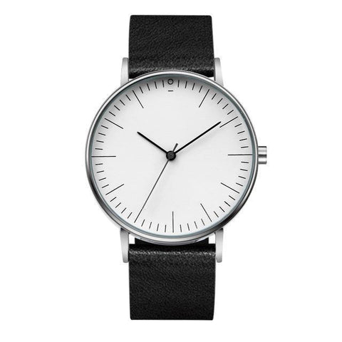 Minimal Quartz Watch With Leather Strap