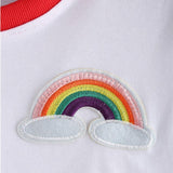 Rainbow Patch Embroidered Crop Top