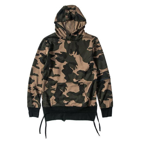 Camo Hooded Pullover With Utility Pocket