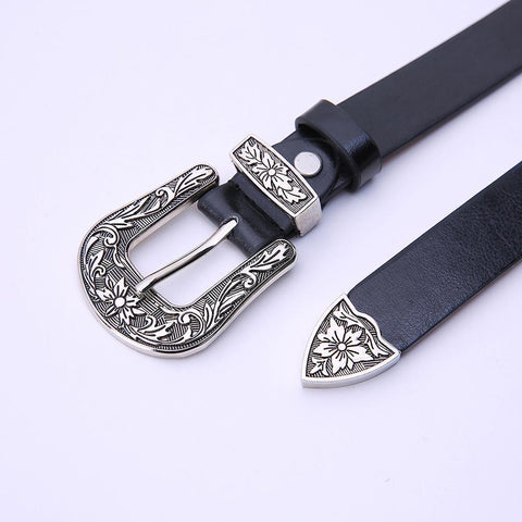 Carved Steel Buckle Leather Belt