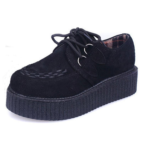 Suede Creeper Platform Shoes